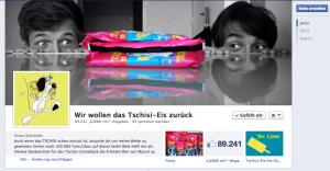 Facebook Fanpage zum Tschisi Eis
